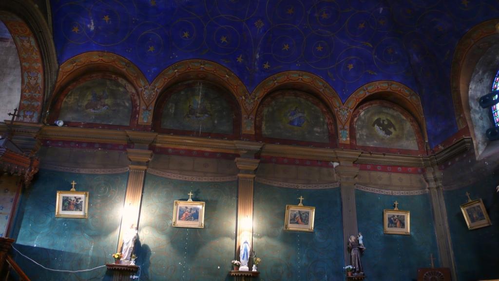 Les peintures du plafond, avec les symboles des évangélistes